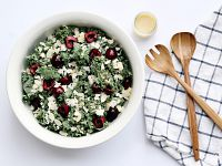 Cherry Kale Salad with Honey Lime Vinaigrette